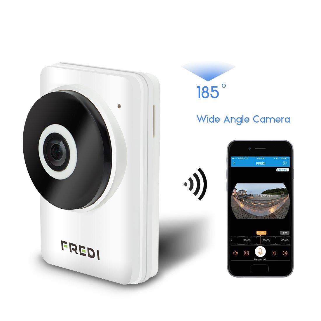 Fredi - Mini camara inalámbrica IP. Cámara de vigilancia para cuidado del bebé, monitor 185 ° gran angular, Wifi, visión nocturna, video en estilo mosaico, ...