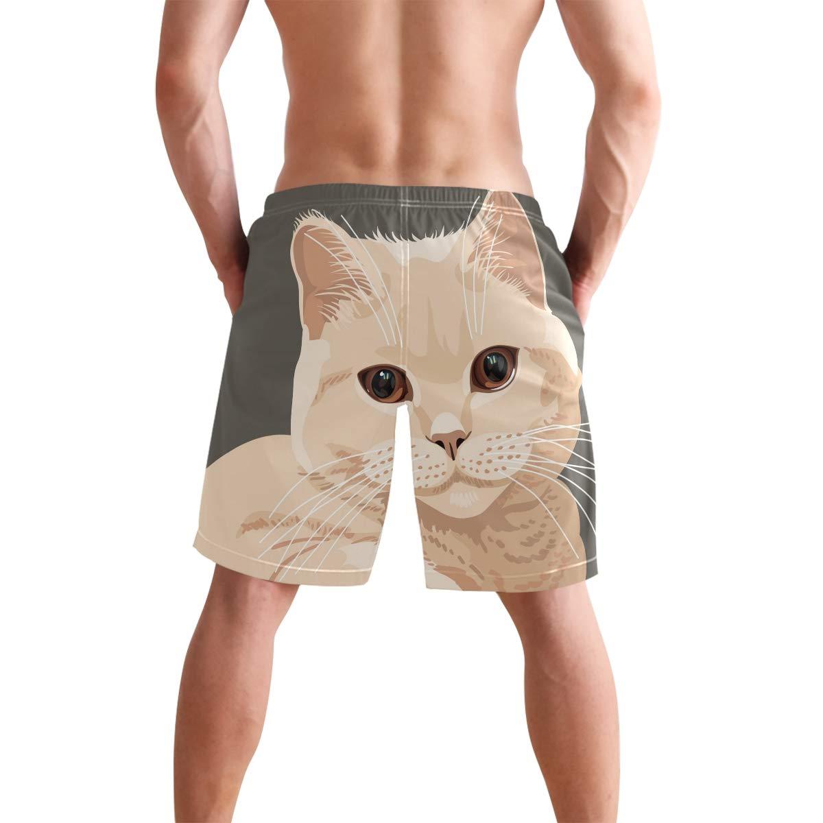 DEYYA Mens Cat 副本 Swim Trunks Beachwear Summer Holiday Beach Shorts Quick Dry