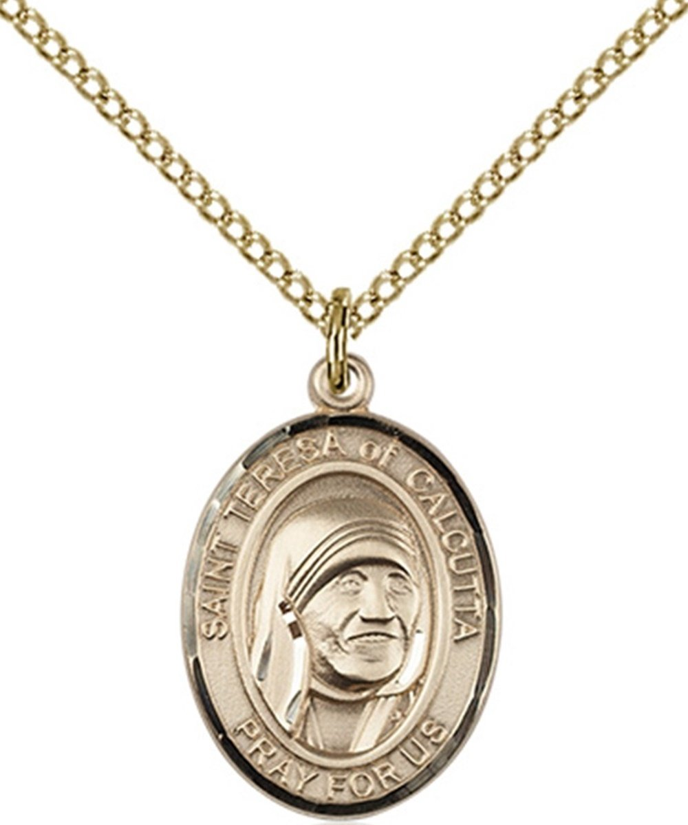14K Gold Filled Saint Teresa of Calcutta Medal Pendant, 3/4 Inch