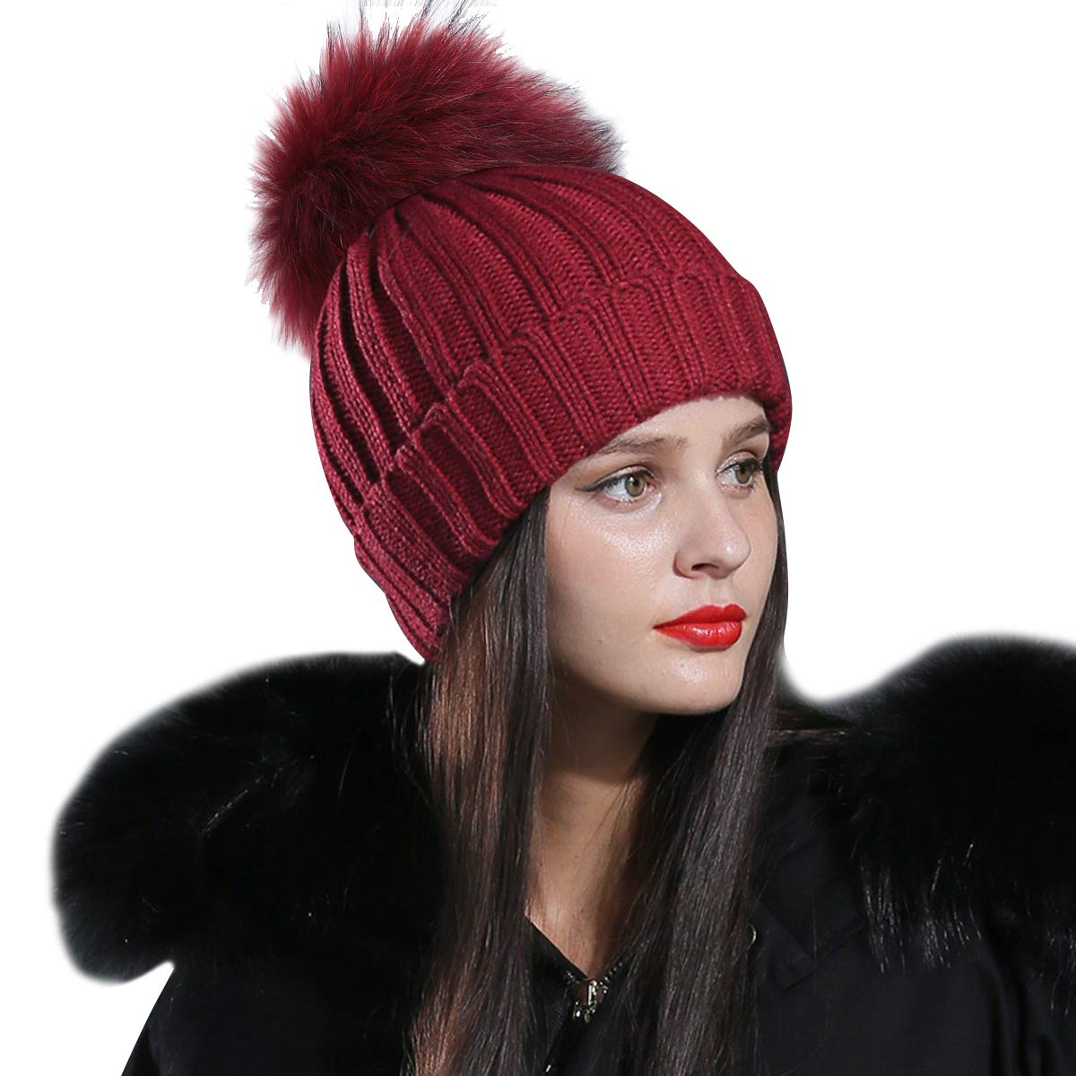1f3a810dd4a537 CACUSS Women's Winter Soft Fur Pom Pom Beanie Hat Warm Cable Knitted Thick  Ski Caps Skull Cap (Wine red)