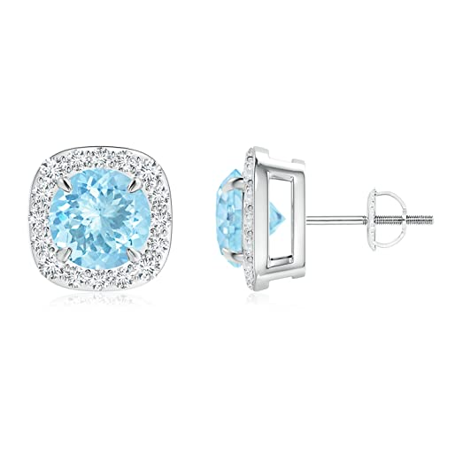 Angara Claw Aquamarine and Diamond Halo Stud Earrings in Platinum C6PYo