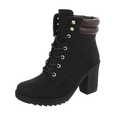 Cingant Woman Damen Stiefelette/Blockabsatz/Halbhohe Stiefel/Damenschuhe/Boots/Schwarz, EU 37