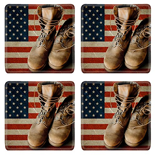 Liili Square Coasters Non-Slip Natural Rubber Desk Pads IMAGE ID: 20386335 Grunge US Army boots on sandy american flag background collage