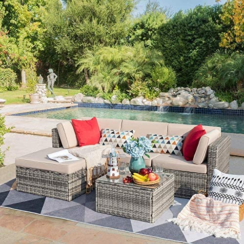 Devoko 5 Pieces Patio Furniture Sets Outdoor Sectional Sofa Manual Weaving Rattan Wicker Patio Conversation Set