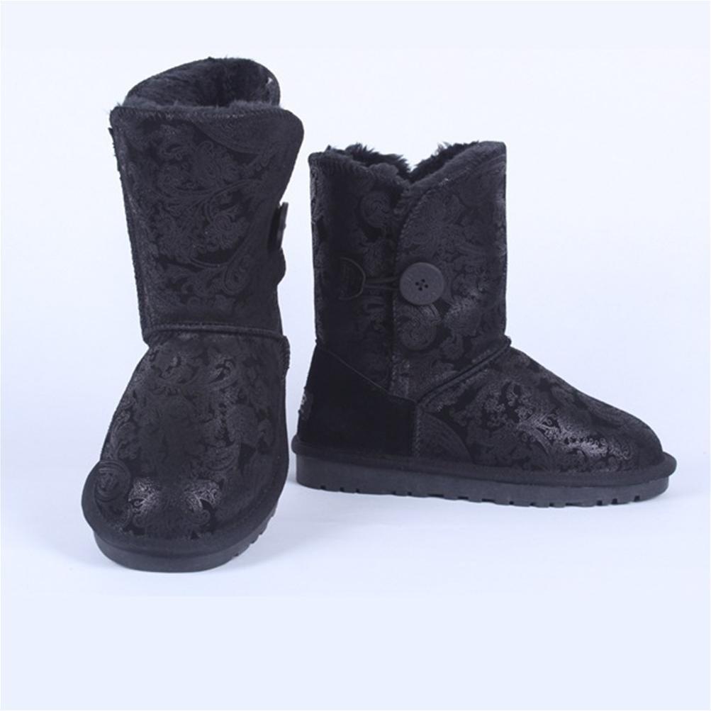 QPYC Botas de de de mujer en la nieve Botas planas Botas de algodón caliente una hebilla Tendón de gran tamaño en la punta de los zapatos, Negro tail, 34 648d4a