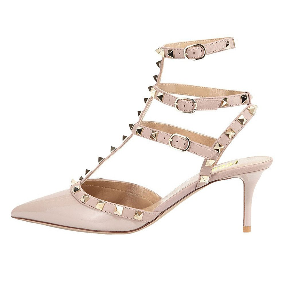 Apricot(patent) VOCOSI Women's Rivets Buckle Studded T-Strap Pointed-Toe Kitten Heels Fashion Sandals