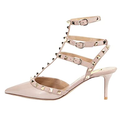 2878cb0257b4 VOCOSI Women s Rivets Buckle Studded T-Strap Pointed-Toe Kitten Heels  Fashion Sandals P