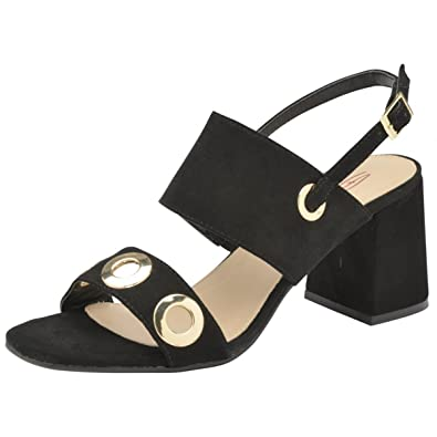 b8bcb340e64 Dolcis Ladies Naomi Black Block Heel Ankle Peep-Toe Sandals Strappy Shoes  Sizes 3-