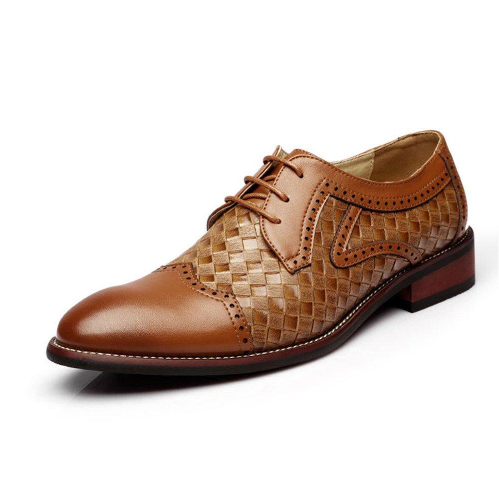 TYAW-Herrenschuhe Schuhe Leder Runden Kopf Gitter Farbe Braun