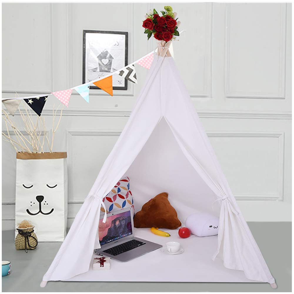 Kids Teepee Tent | Universal Design Fits Most Boys or Girls Indoor Playhouses with Window, Roomy Pocket | Large Enough Tipi for Toddler Dog Baby | Childs Reading Nook (White Teepee Canvas Tent)