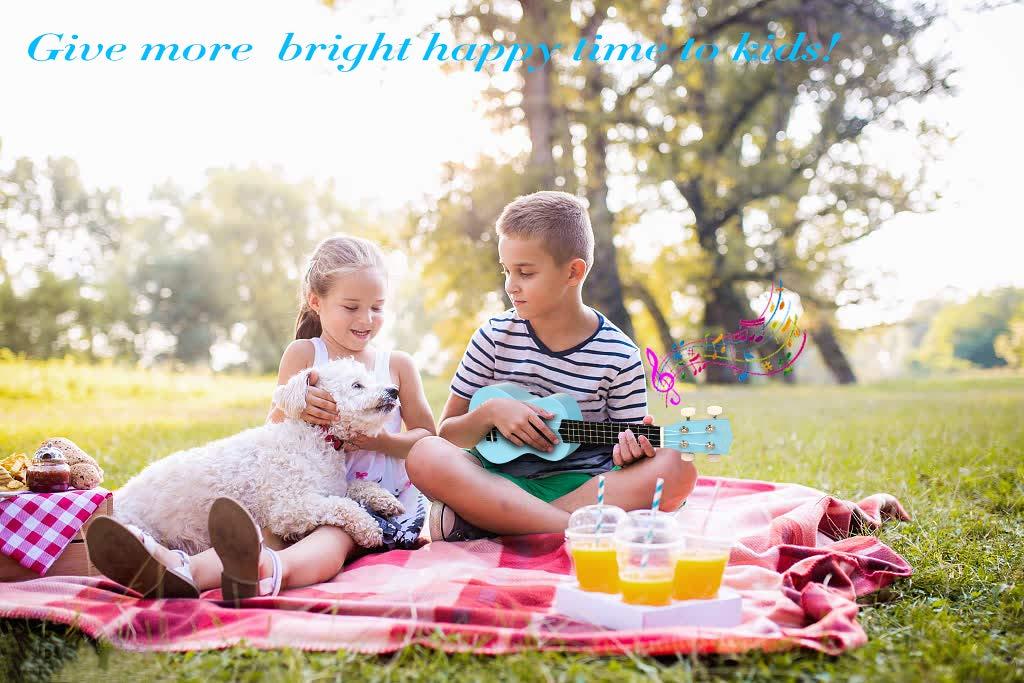 POMAIKAI Ukulele Wood Ukuleles for Kids Beginner Ukulele Pack Soprano Ukulele Starter Kid Guitar Hawaii Guitar 21 Inch Rainbow Uke with Gig Bag Bright-Brown