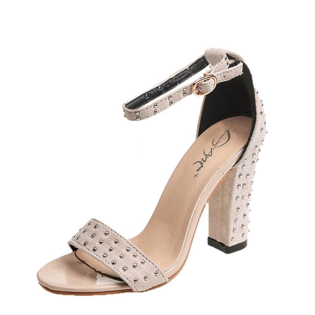 1f0aabcdb5e SUKEQ Women Chunky Heel Sandal, Ladies Fashion Ankle Strap Rhinestone High  Heel Pumps Sandals Open Toe Shoes (6.5 B(M) US, Beige)