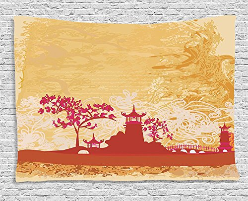 Supersoft Fleece Throw Blanket Asian Collection Temple in Floral Environment with Other Ethnic Asian Religion Elements Art Print Persian Orange Pink