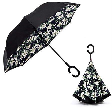 Dabixx Forma de C Mango Doble Capa Paraguas Anti-UV Plegado ...