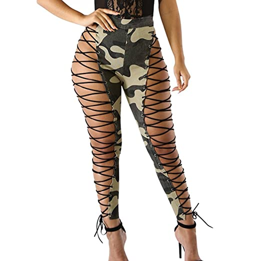 e38f7858 GUOLEZEEV Women Hollow Out Tight Ankle Pants Bandage Lace up Pencil Leggings  Green S