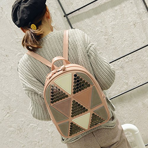 Style Preppy School Geometric Purple Women Girls Backpack Rucksack Shoulder Silver Pink Bag Bag Bookbags Bag Kofun Patchwork Travel Travel qgxpXYvO