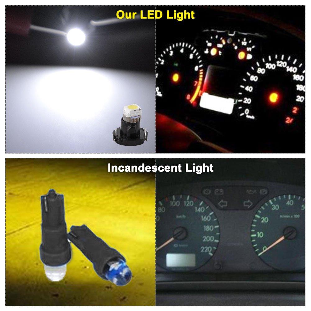 YITAMOTOR 10X White LED T3 Neo Wedge 1210-1 SMD LED Dash Climate Gauge Light Bulbs 8mm