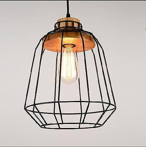 ZHIYUAN Lámpara simple jaula madera creativo/personalizado barra ...