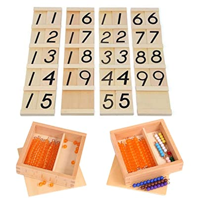 YHZAN Montessori Math Material Teens and Tens Boards with Beads Bars Wooden Box Early Development Teaching Aids Toy: Toys & Games