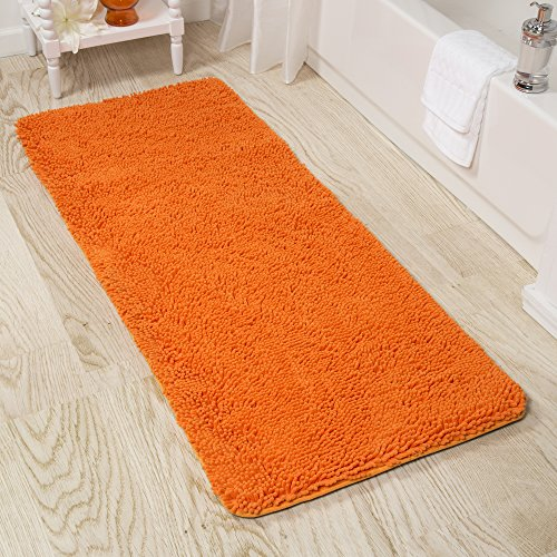 (Lavish Home Memory Foam Shag Bath Mat 2-Feet by 5-Feet - Orange )