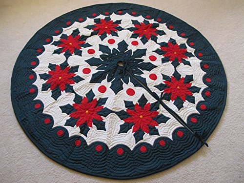 - Hawaiian Quilt 100% Hand Quilted and 100% Hand Appliqued Christmas Tree Skirt 42