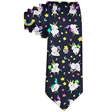 Colorido arco iris unicornios clásico hombres poliéster corbata ...