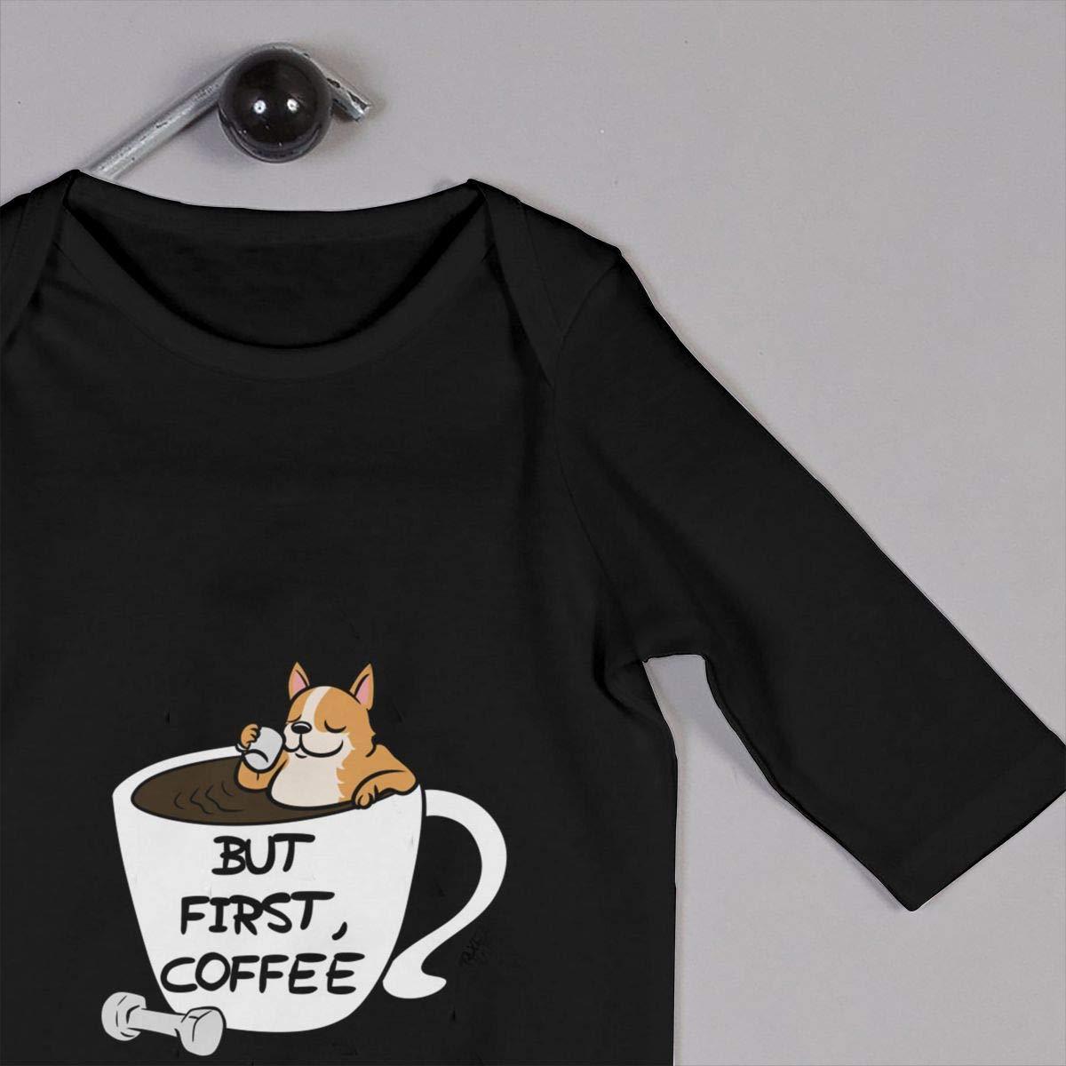 Corgi But First Coffee Baby Long Sleeve Bodysuit Cotton Romper