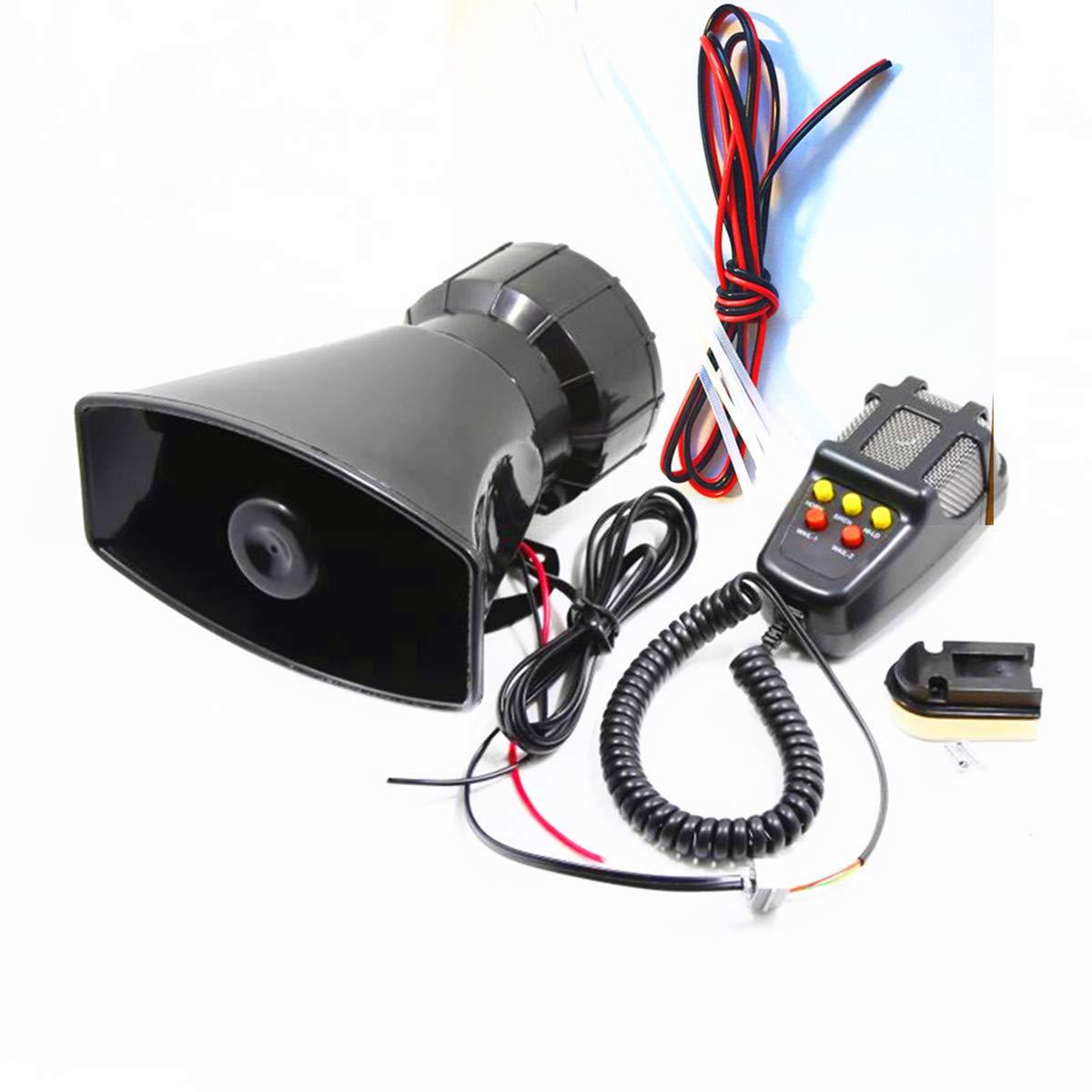 Dhuile auto sirena altoparlante, sirena di allarme 12 V 80 W auto veicolo corno sirena con microfono e altoparlante PA sistema di emergenza del suono , auto elettronica attenzione per furgoni auto camion moto nave duofang