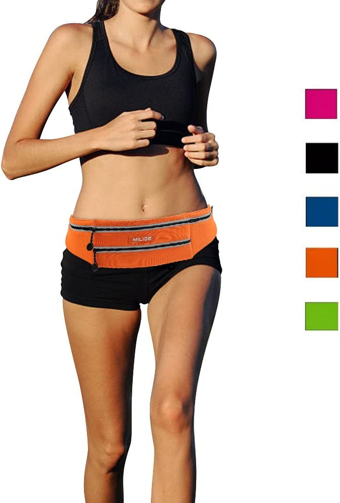 MILIDE Running Belt Waist Pack for iPhone x 8 7 Plus with Reflective Strips Runner Workout Waterproof Canvas Runners Belt Phone Fanny Pack for Men,Women,Hiking Cycling,Travel,Workout,Sports