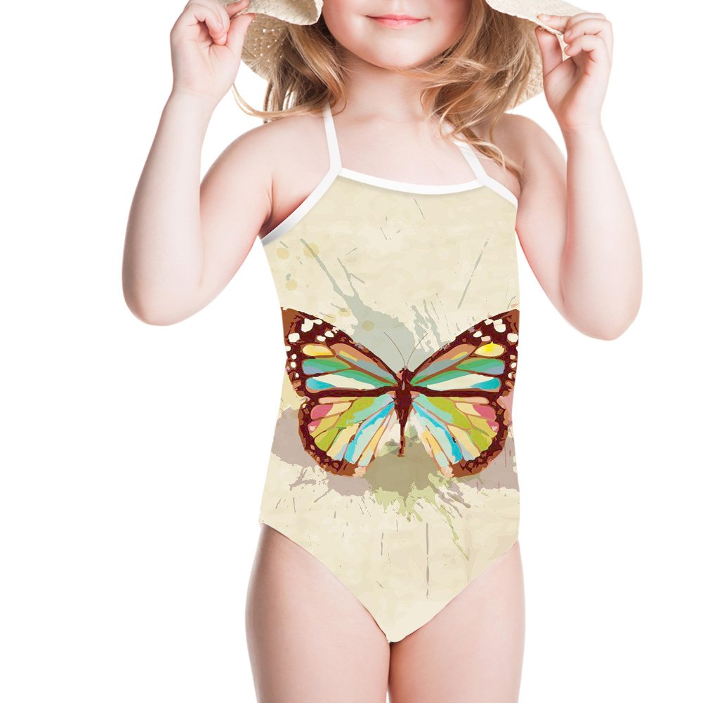 Sannovo Baby Girls Swimsuit 3-8 Years One-Piece 3D Butterfly Print Bathing Suit 7T-8T by Sannovo