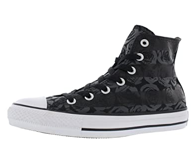 Converse Women's Chuck Taylor All Star Rose Print Hi Black/Thunde Basketball  Shoe 5 Women