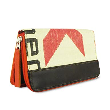 f7d447fd37598 SANGKHUM Fairtrade Upcycling Geldbörse  K-cement rot Zipper  (Leder) -  Design