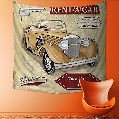 Decorative Wall tapestry Vintage Car Rentals Commercial with Keys Original Dated Objec Decor Bedding 32W x 32L Inch by Vanfan