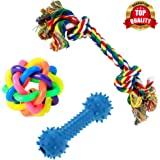 PetVogue Training Toy Set with Ball Ropes and Squeaky for Small Doggie and Pets, Pack of 3