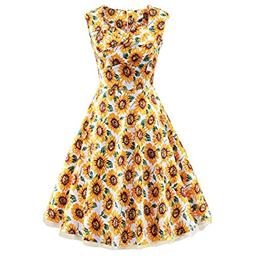 V Fashion Women 1950s Style Retro Cap Sleeve Garden Party Vintage Swing Dress Yellow Sunflower L