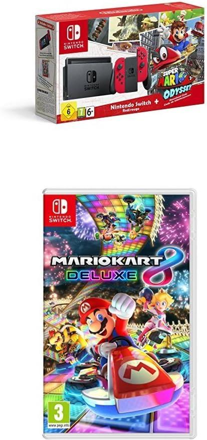 Nintendo Switch - Consola + Super Mario Odyssey Bundle (Código Descarga) + Mario Kart 8 Deluxe: Amazon.es: Videojuegos