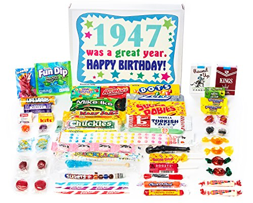1947 70th Birthday Gift Box Of Retro Nostalgic Candy From Childhood For A 70 Year Old Man