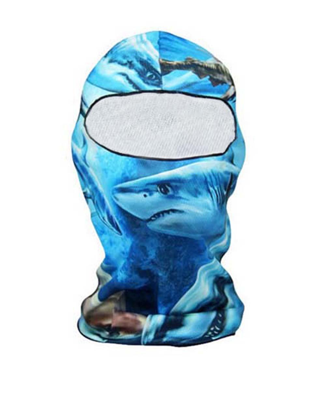 Panda Superstore Shark Pattern Motorcycle Cycling Dacron Balaclava Full Face Mask For Sun UV Pro
