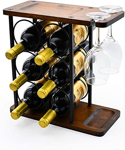 Wine Rack Multifunctional Wine Rack Table Type Wooden Wine Rack Rustic Countertop Wine Rack Can Hold 6 Bottles and 2 Glasses Metal Wine Rack