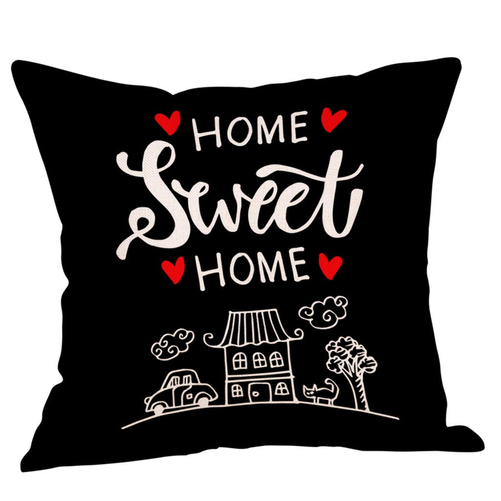 YWLINK 1PC Tirar Almohada Sweet Home Cotton Linen Square ...