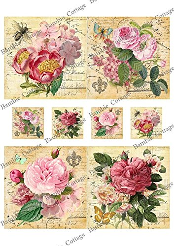 Paper for Decoupage Vintage Style and Decoupage Gift Wrap Size 20x25 Cm Total 3 Sheets (Decoupage Vintage)