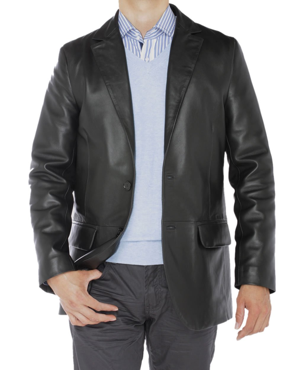 Luciano Natazzi Men's Lambskin Leather Blazer Two Button Modern Fit Jacket (3X-Large / US 51-52, Black)