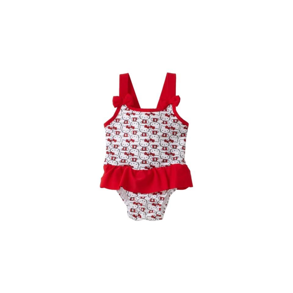 Hello Kitty Baby Girls Ruffle One Piece Swimsuit, White, 12 Months