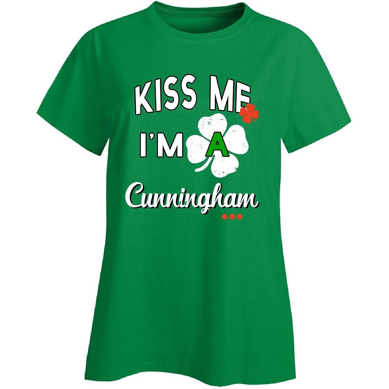 Funny St Patricks Day Irish Gift - Kiss Me I'm A Cunningham - Ladies T-shirt