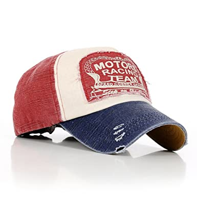 e4a727639 Amazon.com: MuLuo Letter Fashion Vintage Caps Baseball Golf Cotton  Adjustable Hat Blue Edge Wine Red Headpiece: Clothing