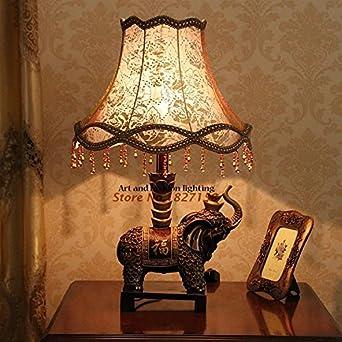 Ttr Dunkles Gold Harz Tisch Lampe Glucklicher Elefant Licht Halter