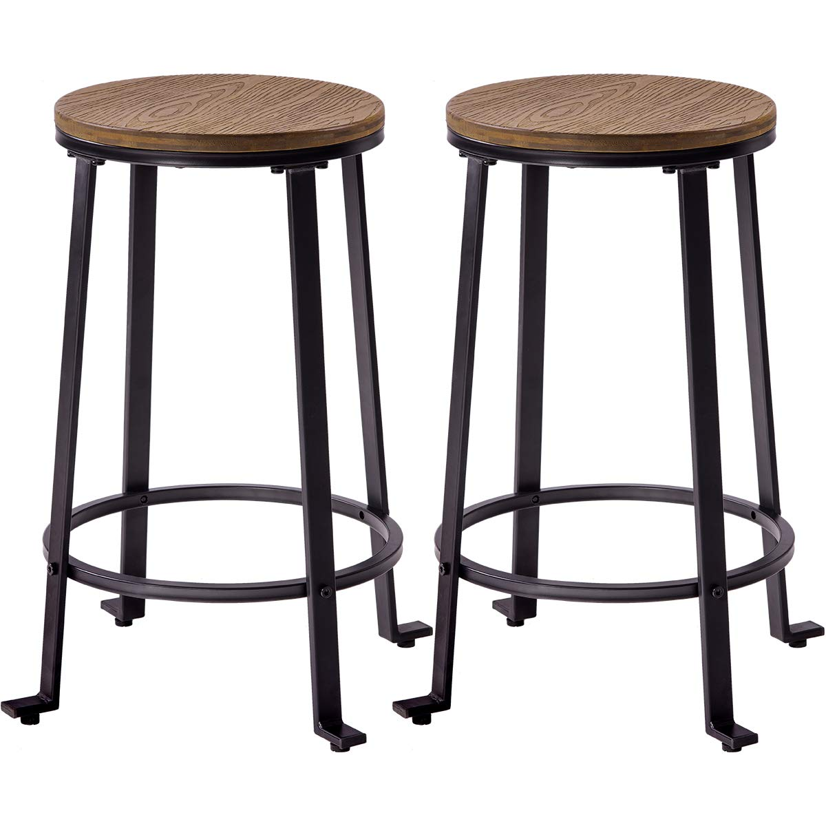 Harper&Bright Designs Metal Bar Stools, Counter Height Round Wood Top Barstools Set of 2, Light Brown
