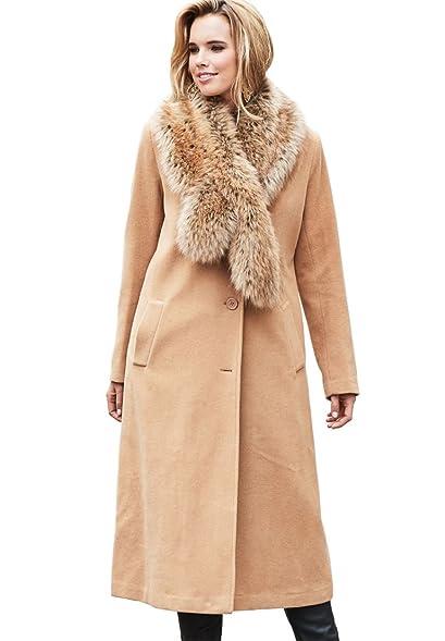Roamans Women's Plus Size Long Wool Coat at Amazon Women's ...