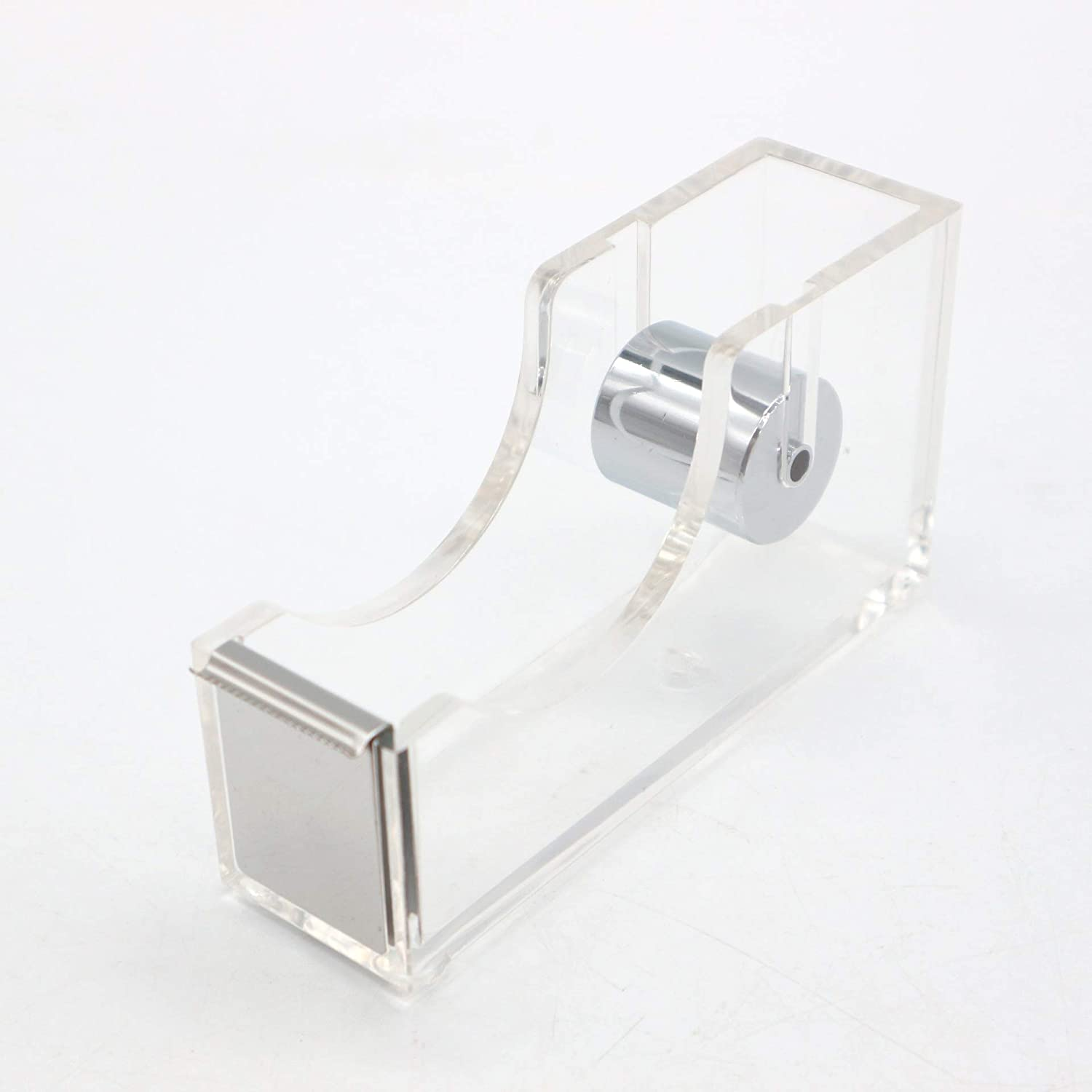 LUYING Desktop Clear Tape Dispenser Acrylic Nonslip Tape Cutter Heavy Duty [Elegant and Modern Design] Office Stationery (Silver)