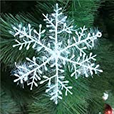 6pcs/Pack Snowflakes Christmas Tree Decoration Plastic Glitter Snow Flake Ornaments Home Decor (18cm)